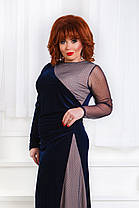 ДР1555 Бархатное платье с сеткой размеры 50-56 , фото 3