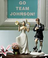 """Фигурка для свадебного торта """"Футболист и болельщица """", оригинальные свадебные фигурки"""