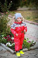 Цельный детский зимний комбинезон на флисе