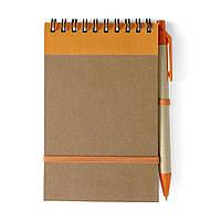 Блокнот А6 с ручкой, белый блок в линейку, переработанный картон, оранжевый