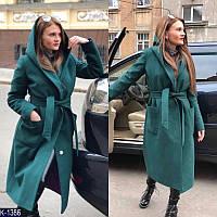Женское пальто длинное с капюшоном