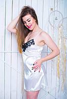 Шелковая женская ночная рубашка с кружевом  42-50