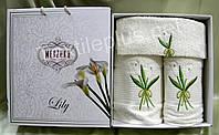 Полотенеца 3-шт Merpatti Lily 100% хлопок махра - 1баня+1для лица+1салфетка
