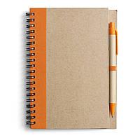 Блокнот А5 с ручкой, кремовый блок в линейку, переработанный картон, оранжевый