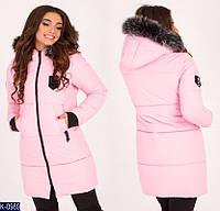 Зимняя теплая женская куртка одноотонная на силиконе