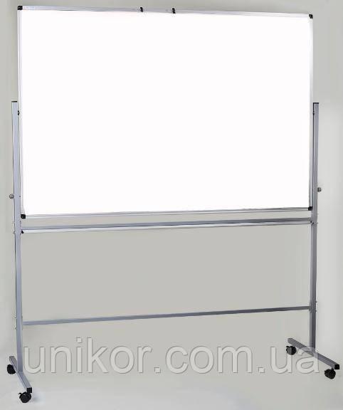 Доска магнитная сухостираемая поворотная двухсторонняя на колесах, 100*150 см. UkrBoards
