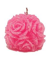 """Свеча новогодняя шар розовый """"Розы"""" с блестками 100 грамм"""