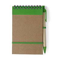 Блокнот А6 с ручкой, белый блок в линейку, переработанный картон, зеленый