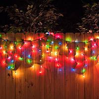 Гирлянда Бахрома - цвет свечения разноцветный- светодиодная уличная гирлянда Айс-Лайт - 10 метров 10х0.5 ЛЭД