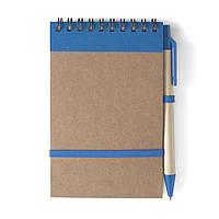 Блокнот А6 с ручкой, белый блок в линейку, переработанный картон, синий