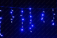 Синяя Гирлянда Бахрома на белом проводе 3 x 0,55м 120 лед LED синий цвет, переходник