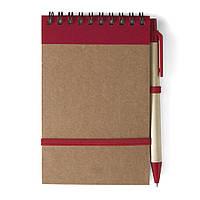 Блокнот А6 с ручкой, белый блок в линейку, переработанный картон, красный