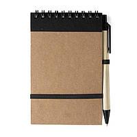Блокнот А6 с ручкой, белый блок в линейку, переработанный картон, черный