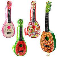 Гитара, струны 4шт, медиатор, 4вида, в сумке, 42*14*4см  (96шт)