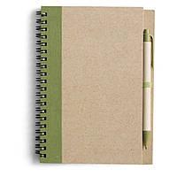 Блокнот А5 с ручкой, кремовый блок в линейку, переработанный картон, зеленый