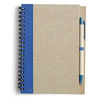 Блокнот А5 с ручкой, кремовый блок в линейку, переработанный картон, синий