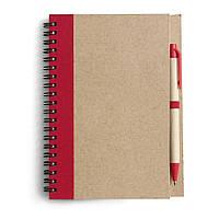 Блокнот А5 с ручкой, кремовый блок в линейку, переработанный картон, красный