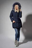 Стильная женская зимняя парка цвета синий джинс
