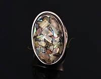 Кольцо с кристаллом Морские камни р 18 код 968