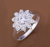 Кольцо Цветок с кристаллами р 17 18 код 996