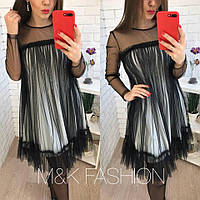Свободное платье - трапеция из фатина и сетки 14716PL