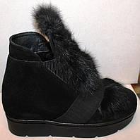 Молодежные зимние ботинки с мехом на платформе, замшевые ботинки зимние от производителя модель РУ1107Ч
