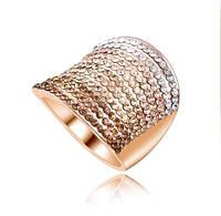 Позолоченное кольцо с кристаллами р 17,18,19 код 177