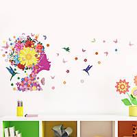 """Интерьерная наклейка на стену """"Цветочная фея с желтым цветком"""""""