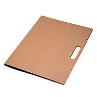 Папка для документов  с блокнотом и ручкой + стикеры, переработанный картон, светло-коричневая