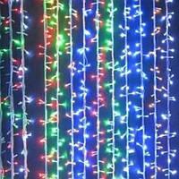 Гирлянда Штора (Curtain) 3м х 1м ЧЕРНЫЙ КАБЕЛЬ ПВХ  98 светодиодов Разноцветная RGB с эффектом мерцания