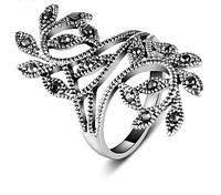Кольцо с кристаллами покрытие серебро р 16,17,18,19 код 1031