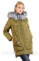 Зимняя женская куртка Катя размер 50 Цвет олива