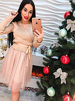 Красивое нарядное платье юбка - органза розовое и беж тренд 2017