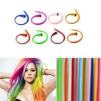 Цветная накладная прядь на заколке клипсе, прямые волосы, цвет ярко-желтый, искусственные волосы