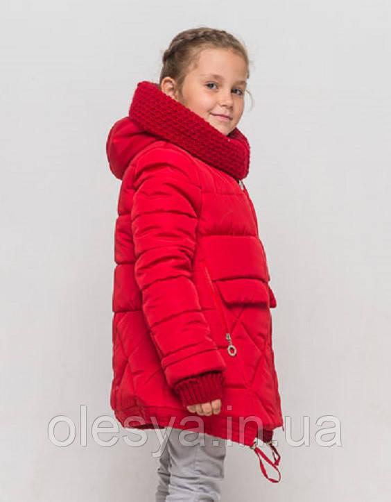 Теплая зимняя куртка пальто на девочку Бетти Размеры 122, 158