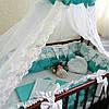 Бортики-защита в кроватку + постельное бельё + балдахин