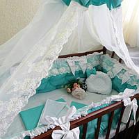 Бортики-защита в кроватку + постельное бельё + балдахин, фото 1