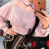 Красивая шифоновая блуза длинный рукав зеленая, розовая, белая, бутылка