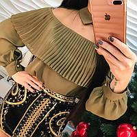 Красивая шифоновая блуза длинный рукав только белая и зеленая
