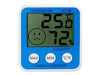 Термометр-гигрометр dc-108, смайлик-индикатор влажности, большой дисплей, память min/max, питание 1,5в