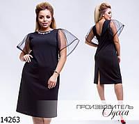 Платье 647-ин17л отрытая спинка+рукав органза R-14263 черный