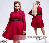 Платье 2051 с пышной юбкой+отделка кружево с бисером R-14290 бордо