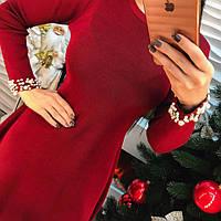 Красивое короткое платье с жемчугом