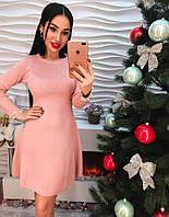 Красивое короткое платье с жемчугом розовое и черное