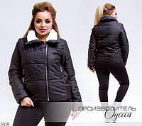 Куртка женская короткая без капюшона на змейке плащевка 48-50,52-54