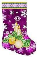 Фиолетовый сапожок схема для бисера новогодняя