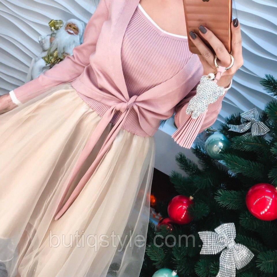 Женский костюм комплект: платье-сарафан на бретелях из органзы и кофта серый