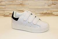 Кроссовки белые липучки черная пятка Т834 р 40
