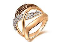 Позолоченное кольцо с кристаллами р 17,18 код 230 17