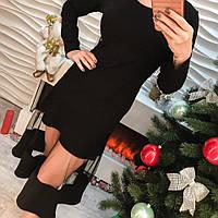 Женское красивое платье вставки органза черное и розовое